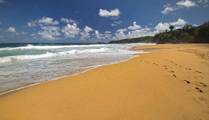 """The Secret Beach"" in Kalihiwai, Kauai"