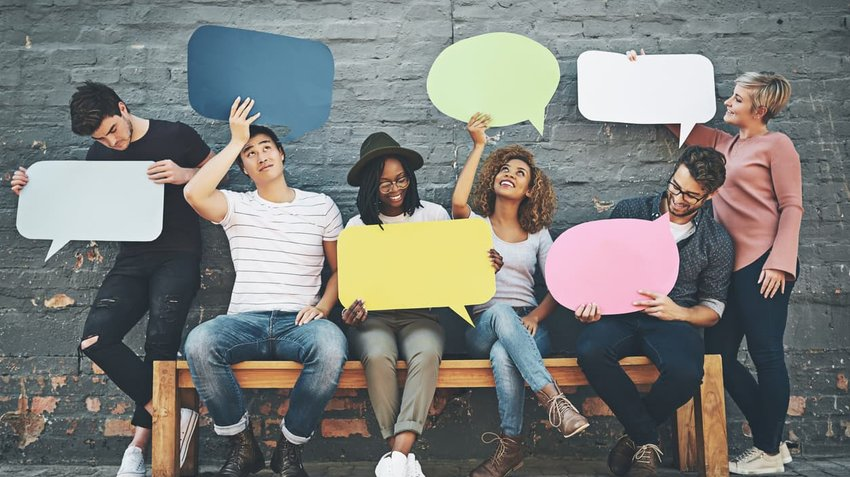 A group of people with speech bubbles, find out what they really think.