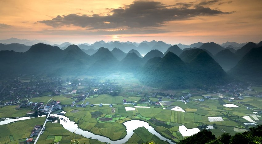 The lush green mountains of the Bac Son Valley, Vietnam