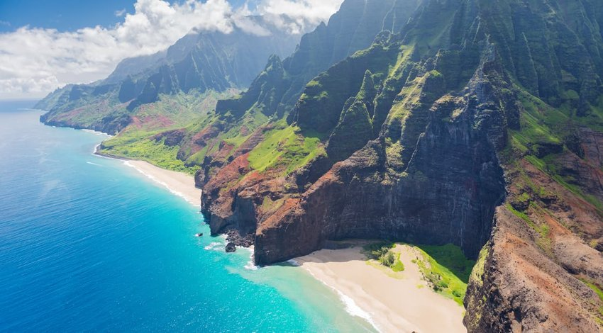 aerial view of Kauai, Hawaii, USA