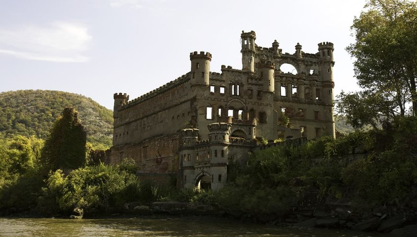 A view of Bannerman Castle, New York, from the Hudson River