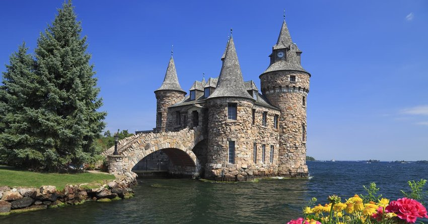 A view across the water of Boldt Castle on Heart Island, Thousand Islands