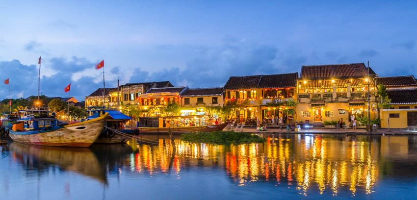 Bright lanterns hanging over the walking street, in the ancient town of Hoi An, Vietnam