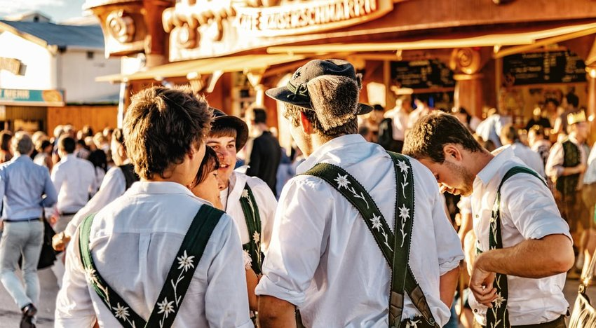 young men in leiderhosen at oktoberfest