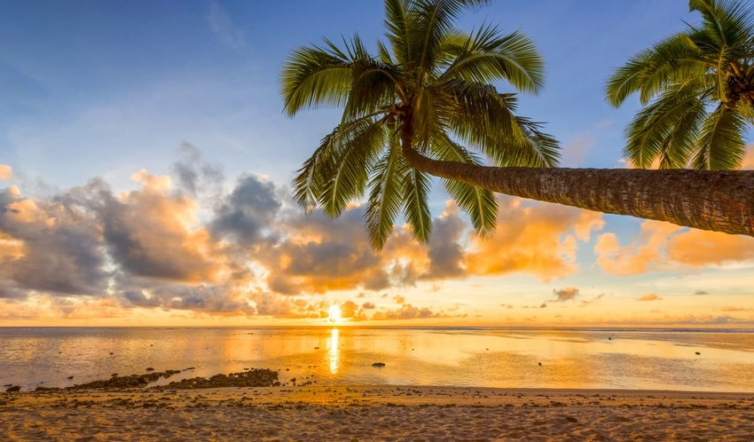 cook islands sunset
