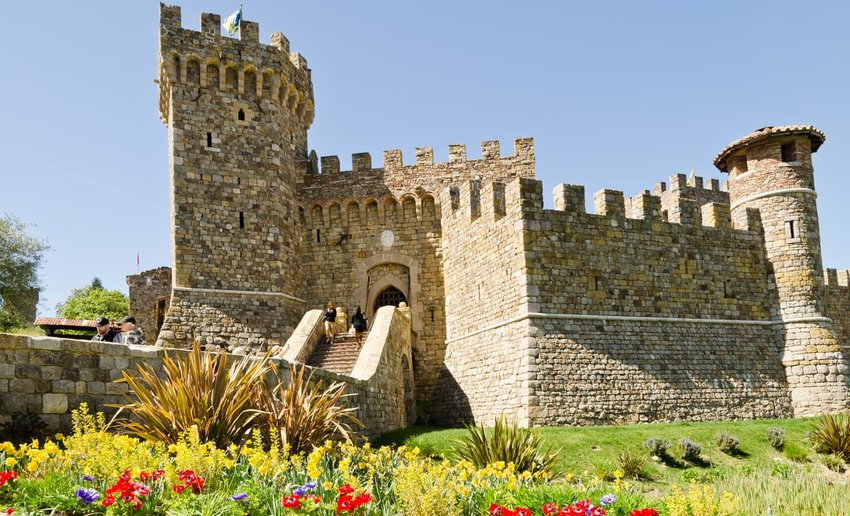 Facade of the Castello di Amorosa in Napa Valley, California