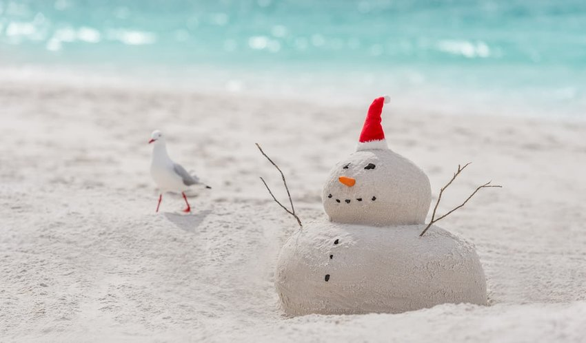 sandcastle snowman, bondi beach australia