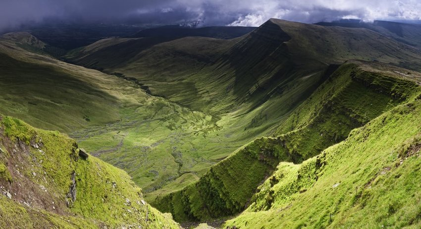 Verdant valleys dramatic escarpments Brecon Beacons Wales UK