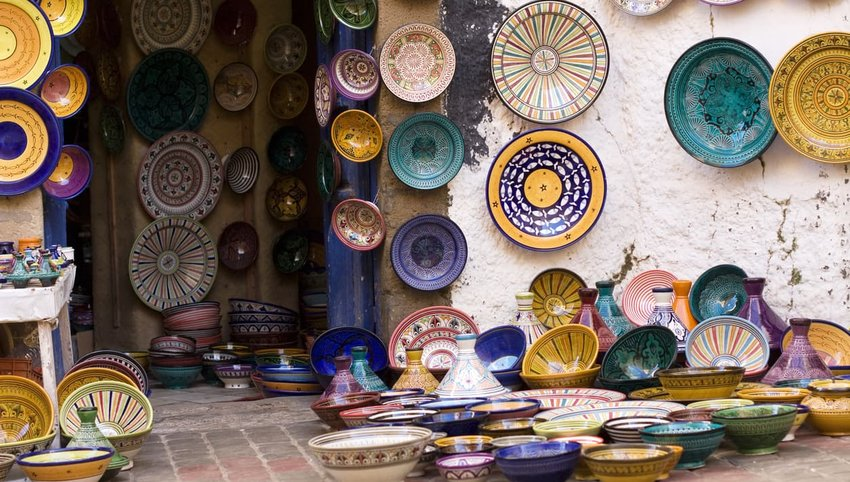moroccan plates on display in street for purchase