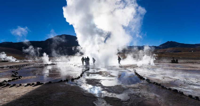 El Tatio Geysers at Sunrise, Andes Mountains, Chile
