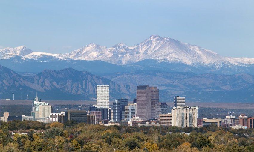 view of longs peak with downtown denver in forground