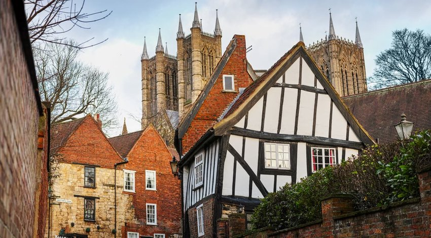 View of the 'Crooked House' with Lincoln Cathedral