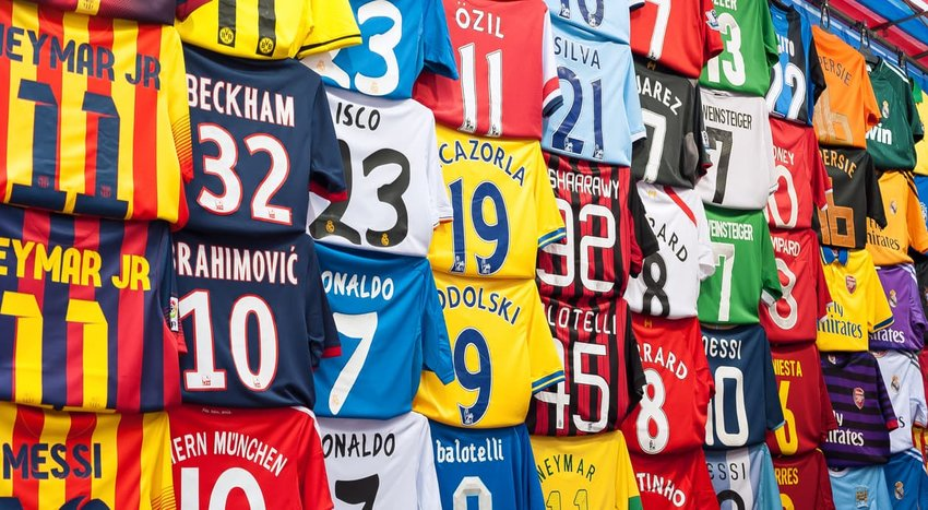 football shirts at a Hong Kong street market