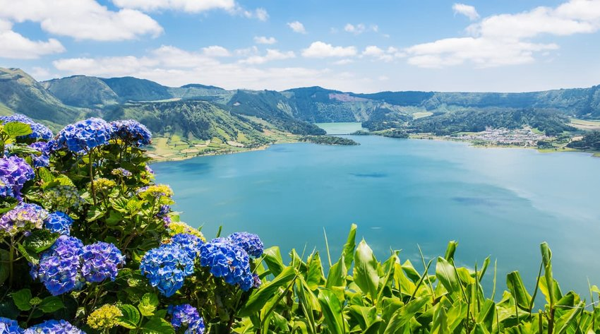 Lake of Sete Cidades with hortensia's, Azores, Portugal