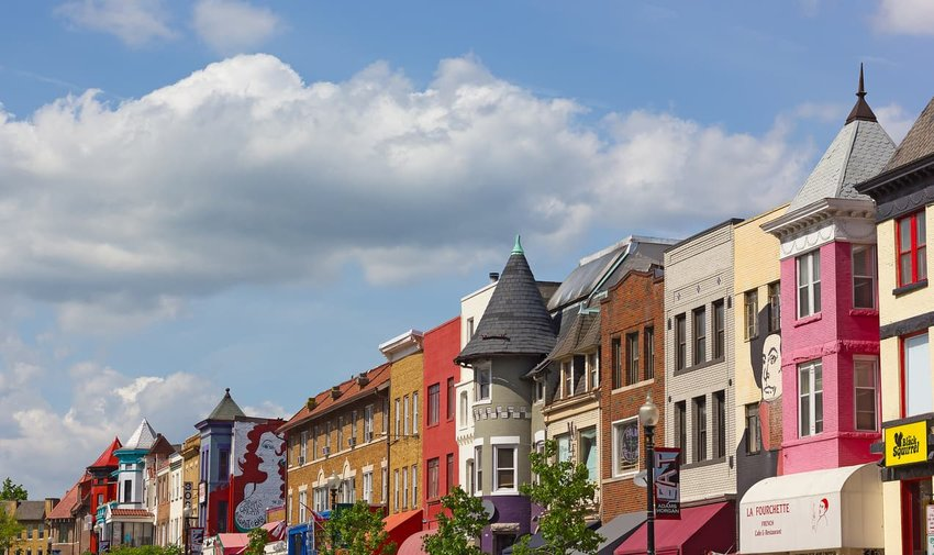 Colorful building fronts in Adams Morgan, Washington