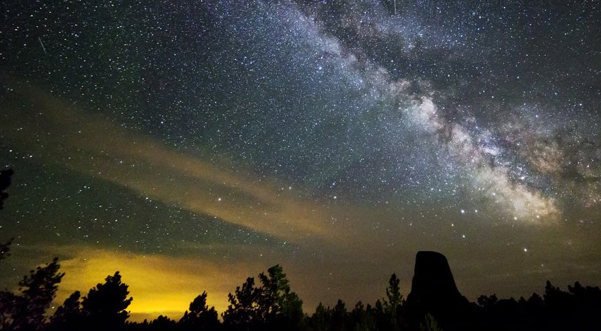 Night Sky Milky Way Galaxy at Devils Tower Monument