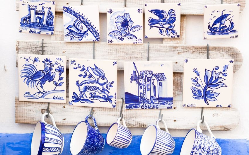 Portuguese pottery sold as souvenirs in Obidos
