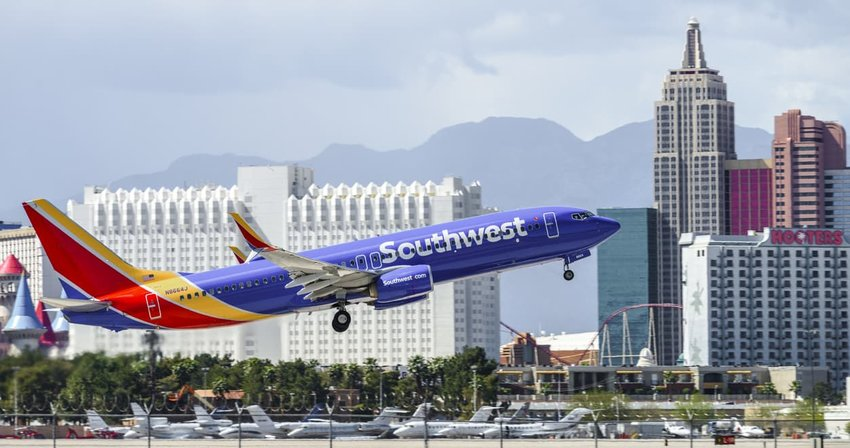 Southwest Airlines plane departing from Las Vegas