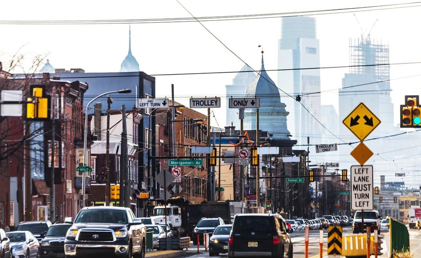 Daytime traffic on the streets of Fishtown district, Philadelphia