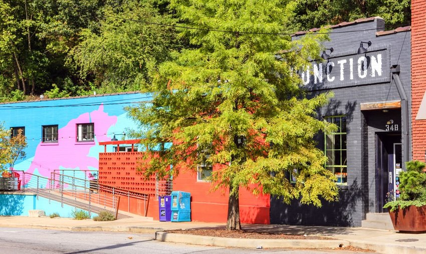Colorful warehouses in the River Arts District of Asheville NC