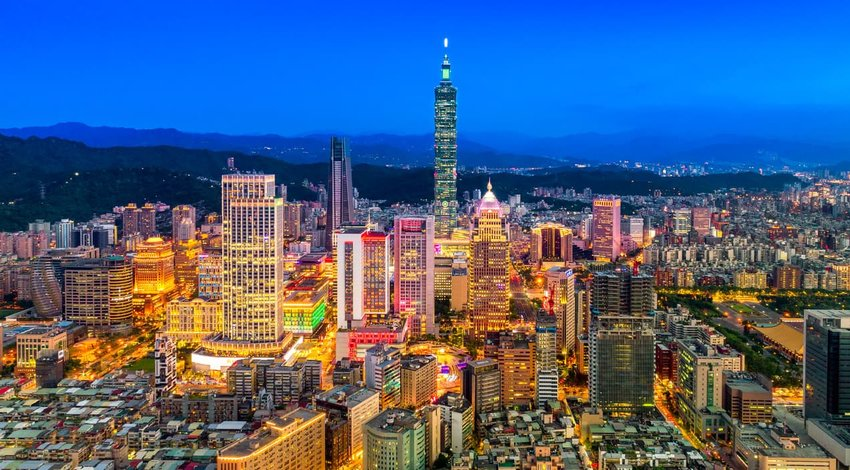 Aerial panorama over Downtown Taipei at night