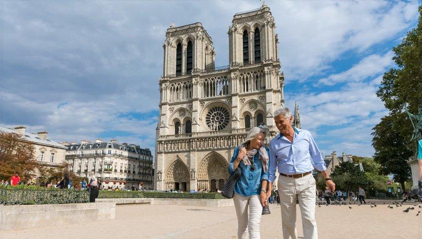 Happy senior couple in Paris on vacation