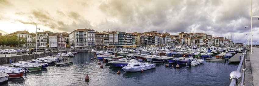 Port of Lekeitio and marina panoramic view. Basque Country, Vizcaya Province, Spain
