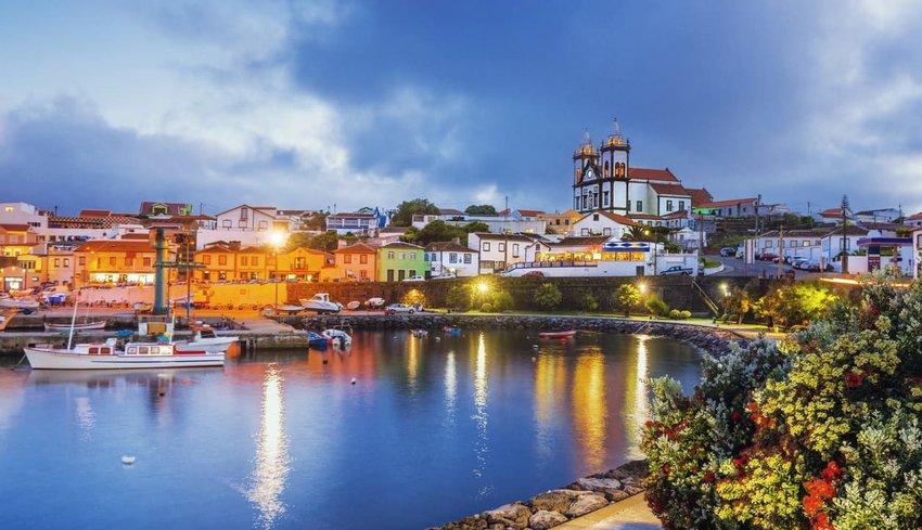 São Mateus da Calheta on Terceira at dusk (Azores)