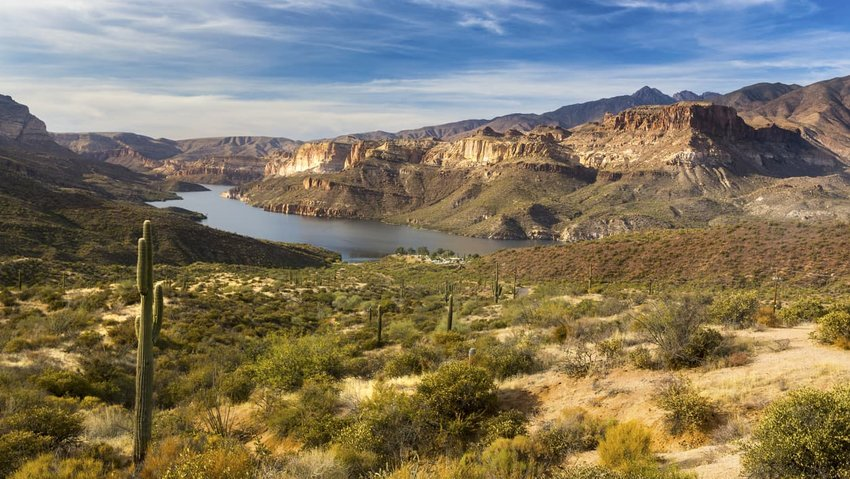Apache Lake Scenic Landscape in Arizona Superstition Mountains