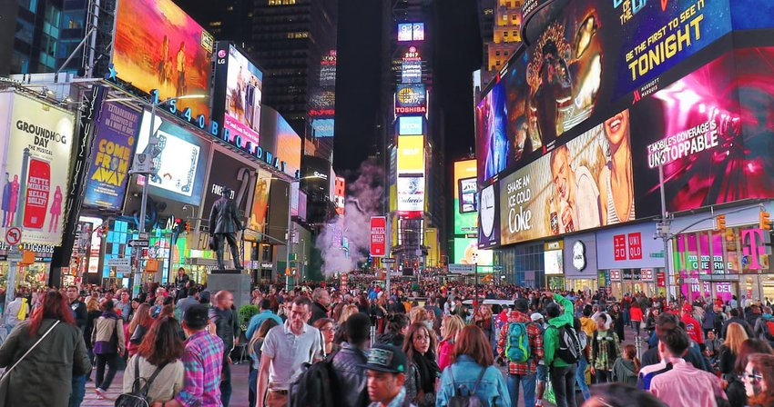 crowded Times Square, New York City
