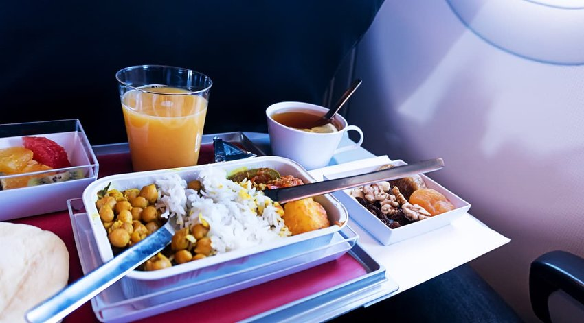 Food served on board of economy class airplane