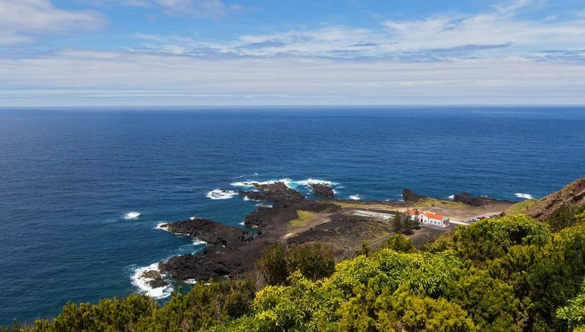 Aerial view on the thermal bath facilities of Ponta da Ferraria in Azores, Portugal