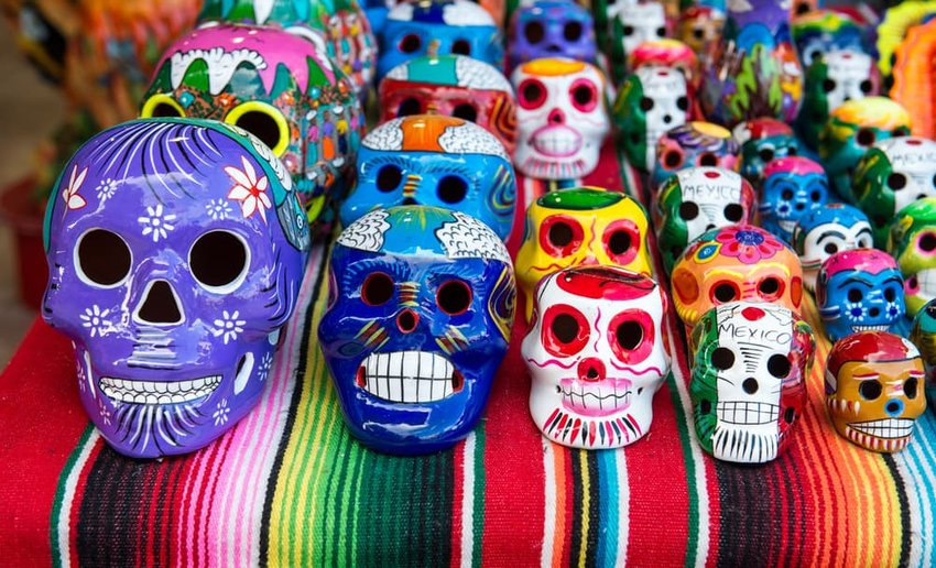 Traditional Mexican souvenir skulls on the market, oaxaca, mexico