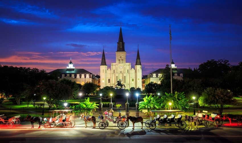 Saint Louis Cathedral and Jackson Square in New Orleans, Louisiana, United States