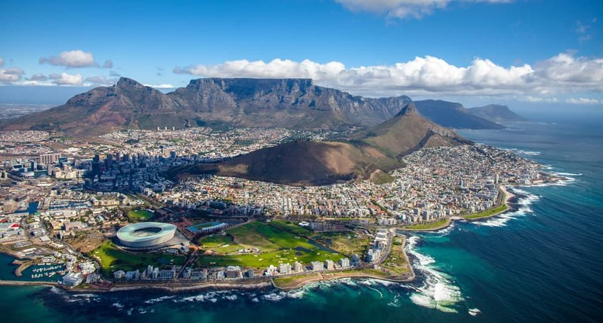 Aerial photo of Cape Town South Africa