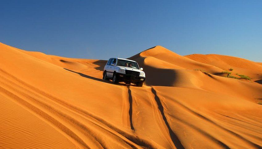 Drive by dunes. Sultanate of Oman. Arabian Peninsula