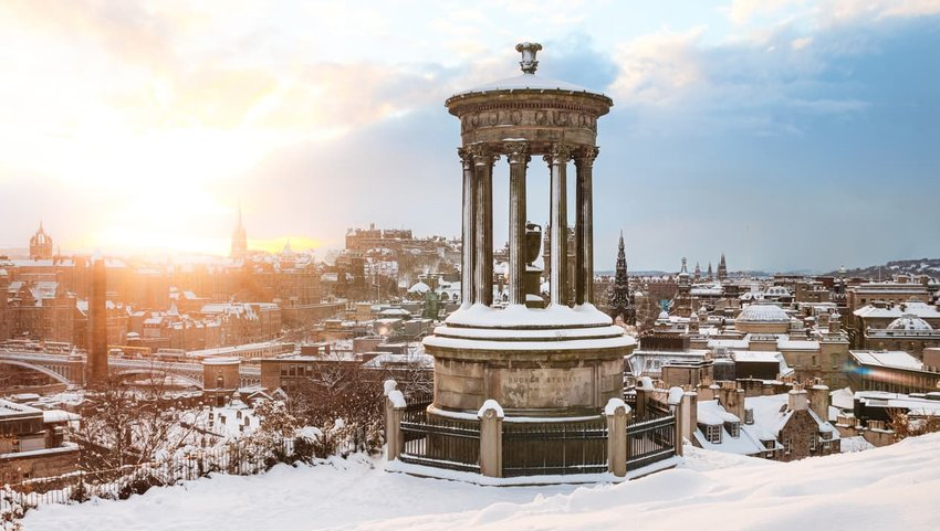 Deep snow in Edinburgh, Scotland