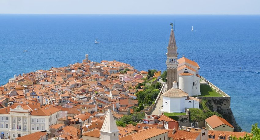 View of the old town of Piran. Slovenian Adriatic coast - Istria