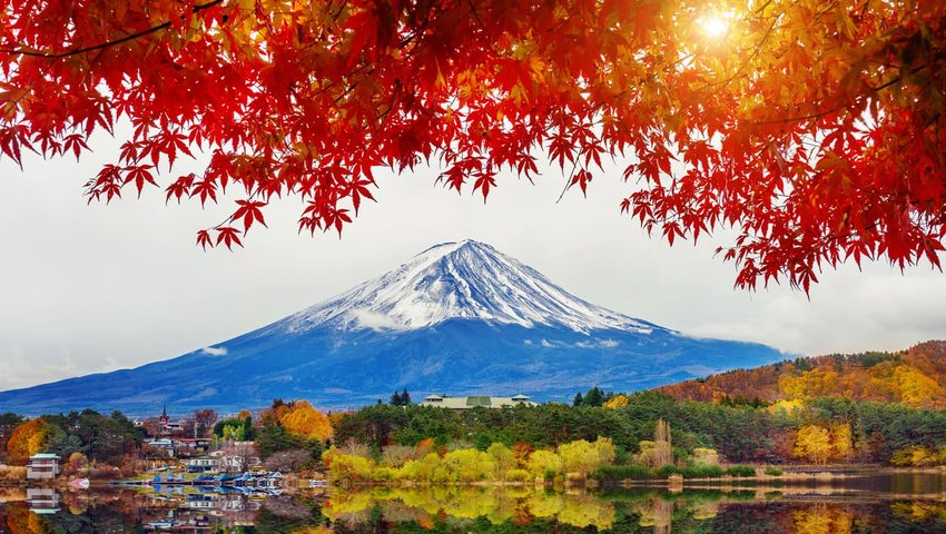 Autumn Season and Mountain Fuji at Kawaguchiko lake, Japan