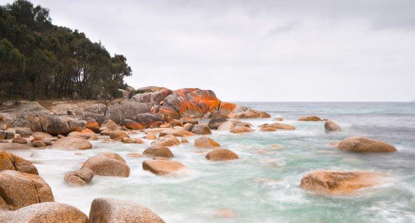 blurry ocean coast, Tasmania