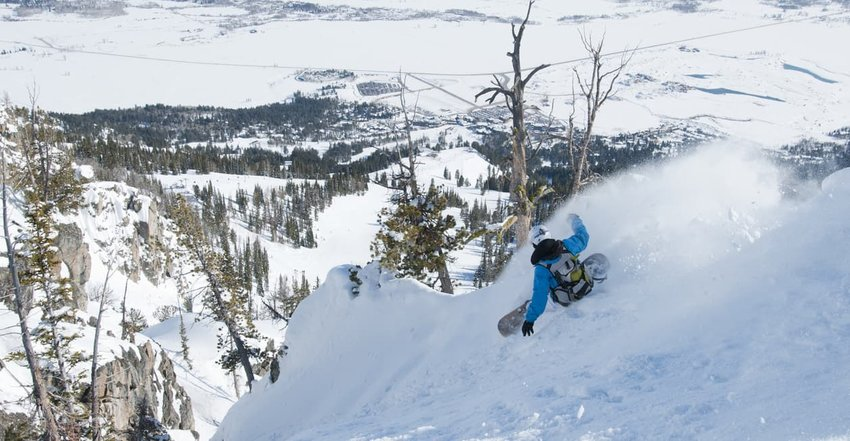 Extreme backcountry snowboarding, Jackson Hole, Wyoming