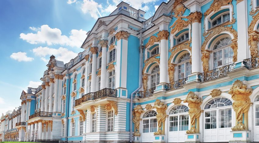 Main facade of the Catherine Palace, St. Petersburg, Russia