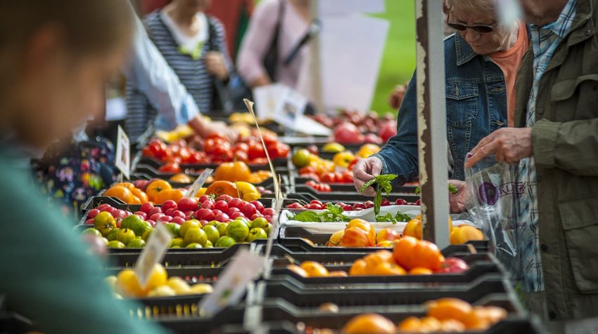 Shoppers explore a local farmers market in Vancouver