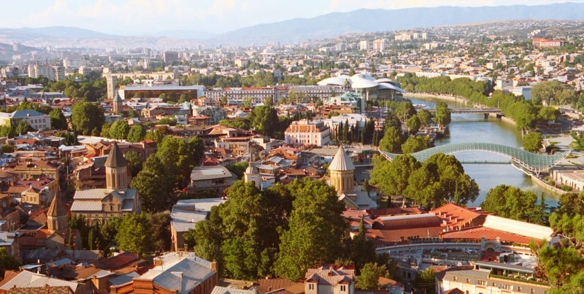 Aerial view of Tbilisi, Georgia at sunset