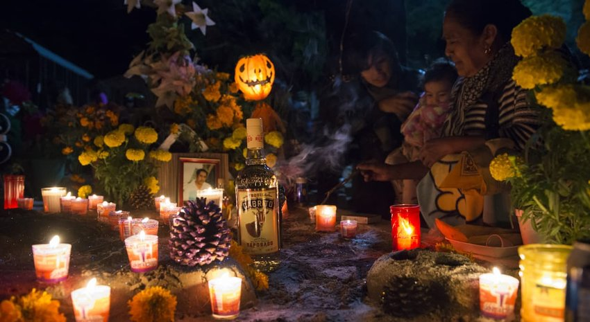 Day of the Dead celebration at cemetery in Oaxaca, Mexico