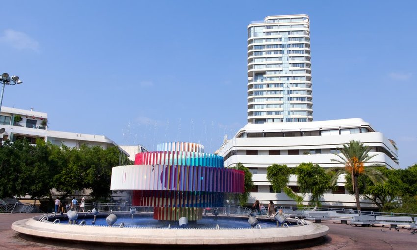Dizengoff square located in the heart of Tel Aviv, Israel