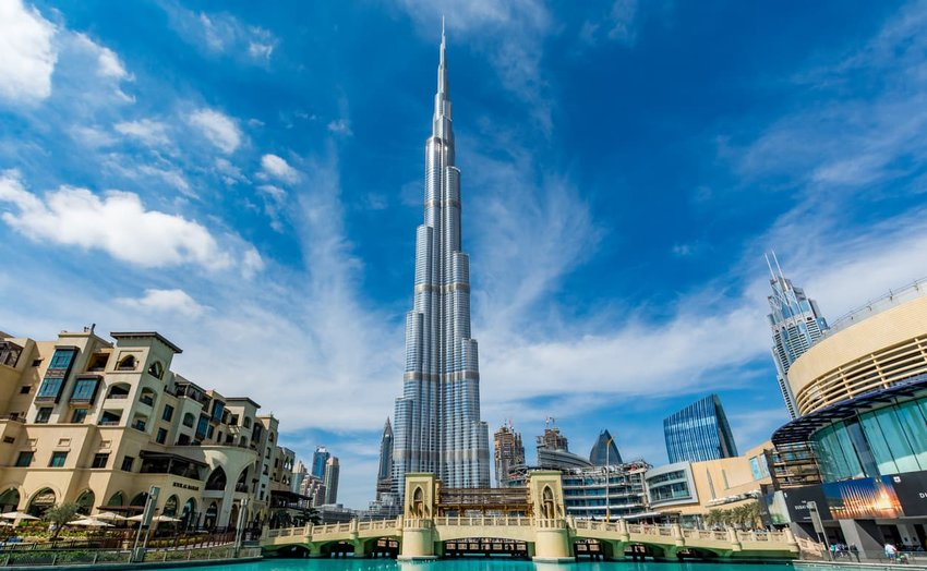 View of Burj Khalifa on a beautiful day, Dubai, United Arab Emirates