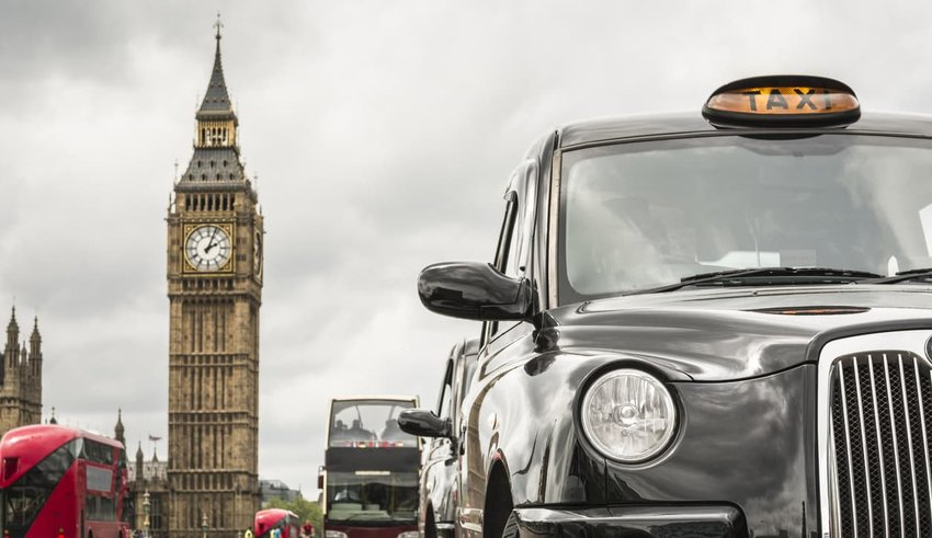 city of london with taxi