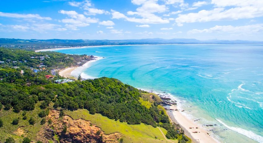 An aerial view of Wategoes Beach in Byron Bay