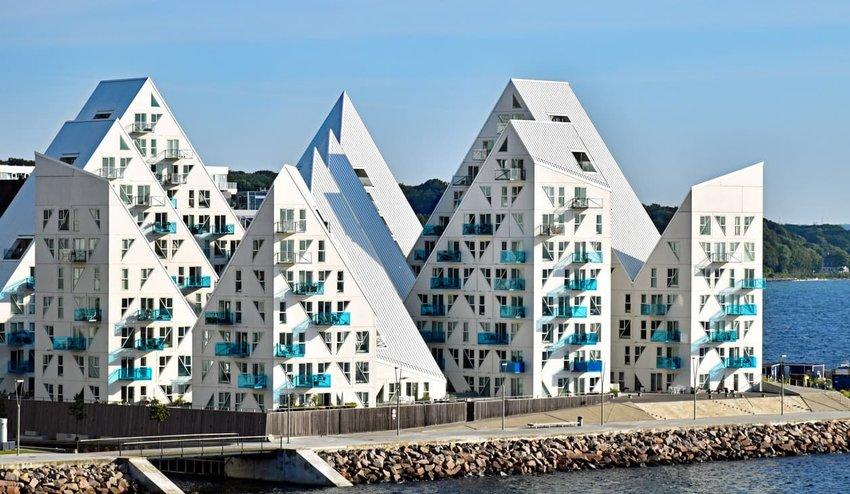 Buildings of the residential complex 'Isbjerget' (Iceberg), Aarhus, Denmark